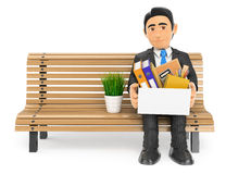 3D Businessman fired sitting on a bench with his stuff. 3d business people illustration. Businessman fired sitting on a bench with his stuff. White background Stock Photo