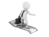 3d Businessman flying on U.S. dollars Royalty Free Stock Photo