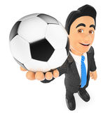 3D Businessman with a football ball. 3d business people illustration. Businessman with a football ball. White background Royalty Free Stock Photos