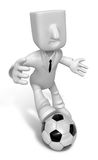 3D Businessman Football playing. 3D Square Man Series. Stock Image