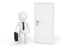 3d businessman in front of a door. On a white background Royalty Free Stock Photo