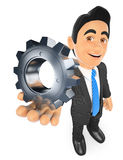 3D Businessman with a gear. 3d business people. Businessman with a gear. White background Royalty Free Stock Image