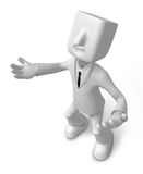 3d Businessman gesture directions. 3D Square Man Series. Stock Photos