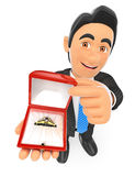 3D Businessman giving an engagement ring. Love concept. 3d business people. Businessman giving an engagement ring. Love concept. White background Royalty Free Stock Photography