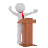 3d businessman giving a presentation. 3d businessman or lecturer giving a presentation standing behind a lectern, rendered cartoon illustration on white Royalty Free Stock Images