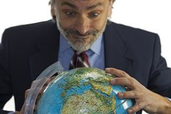 3d businessman globe puzzle στοκ εικόνες