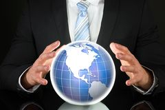 3d businessman globe puzzle Стоковое фото RF