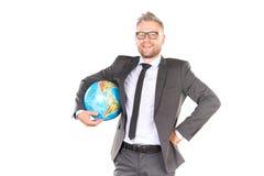 3d businessman globe puzzle Στοκ Φωτογραφίες