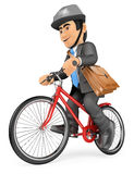 3D Businessman going to work by bike. 3d business people. Businessman going to work by bike. White background Stock Image