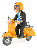 3D Businessman going to work by scooter motorcycle Stock Photos