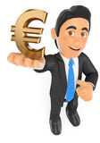 3D Businessman with a gold euro symbol Royalty Free Stock Photo