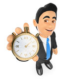 3D Businessman with a gold stopwatch. Time is money. 3d business people. Businessman with a gold stopwatch. Time is money. White background Royalty Free Stock Photos