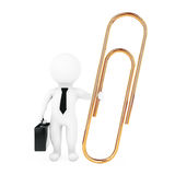 3d Businessman with Golden Paper Clip. 3d Rendering. 3d Businessman with Golden Paper Clip on a white background. 3d Rendering Stock Photo