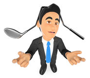 3D Businessman with a golf club hit on head. 3d business people illustration. Businessman with a golf club hit on head. White background Royalty Free Stock Images