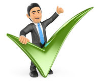 3D Businessman with a green tick and thumb up. 3d business people. Businessman with a green tick and thumb up. White background Royalty Free Stock Images