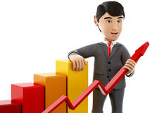 3d Businessman with a growth graph. 3d Illustration. Businessman with a growth graph. Business and success concept. Isolated white background Stock Photo