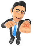 3D Businessman with hand stamp VIP. 3d business people. Businessman with hand stamp VIP. White background Stock Images