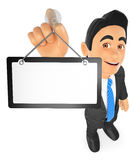3D Businessman hanging a blank poster. 3d business people illustration. Businessman hanging a blank poster. White background Stock Image