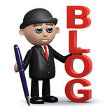 3d Businessman has a blog. 3d render of a businessman standing next to the word blog and holding a pen Stock Images