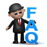 3d Businessman has a FAQ Royalty Free Stock Images