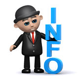 3d Businessman has information. 3d render of a businessman next to the word Info Stock Images
