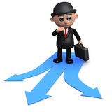 3d Businessman has to make a decision. 3d render of a businessman at a fork in the road Royalty Free Stock Image