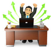 3D Businessman in his office. Success in business Stock Photo