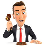 3d businessman hitting gavel. Illustration with isolated white background Stock Images
