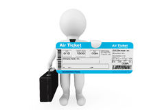 3d businessman hold Airline boarding pass ticket. On a white background Royalty Free Stock Image