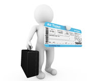 3d businessman hold Airline boarding pass ticket. On a white background Stock Photos