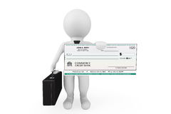 3d Businessman hold Banking Check. On a white background Stock Photos