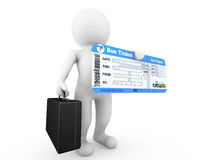 3d Businessman hold Bus Boarding Pass Ticket. On a white background Stock Image
