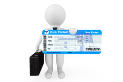 3d Businessman hold Bus Boarding Pass Ticket. On a white background Royalty Free Stock Photo