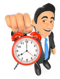 3D Businessman holding an alarm clock. 3d business people illustration. Businessman holding an alarm clock. White background Stock Images