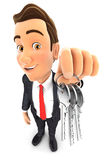 3d businessman holding a bunch of keys. White background Royalty Free Stock Photo