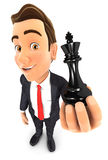 3d businessman holding a chess king. White background Stock Photography