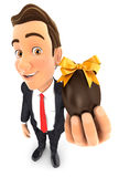 3d businessman holding easter egg. Illustration with  white background Stock Image
