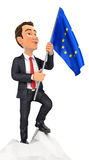 3d businessman holding european flag on top of mountain. Illustration with  white background Stock Images