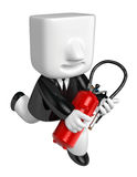 3D Businessman holding fire extinguisher. 3D Square Man Series. Stock Image