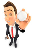 3d businessman holding golf ball. Illustration with isolated white background Stock Photography