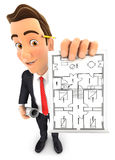 3d businessman holding house plan. White background Royalty Free Stock Photo