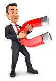 3d businessman holding a magnet. Isolated white background Royalty Free Stock Image