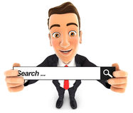 3d businessman holding a search bar. Isolated white background Royalty Free Stock Photography