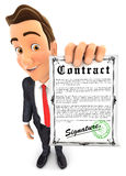 3d businessman holding signed contract. Isolated white background Royalty Free Stock Image