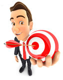 3d businessman holding a sphere target. White background Royalty Free Stock Photo