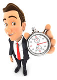3d businessman holding a stopwatch. White background Stock Photo