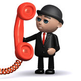 3d Businessman holding a telephone handset. 3d render of a businessman holding a red telephone handset Royalty Free Stock Photo
