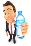 3d businessman holding water bottle. Illustration with  white background Stock Photos