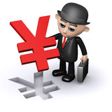 3d Businessman holding a Yen symbol jigsaw puzzle piece. 3d render of a businessman holding a Japanese Yen currency symbol jigsaw puzzle piece Stock Images