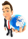 3d businessman holds blue earth. Isolated white background Stock Image